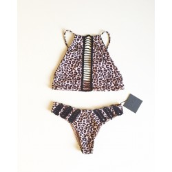 Acacia Malibu Snow Leopard Bikini Top