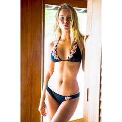 Sauvage Black Coral Hand Beaded Bikini