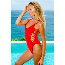 Sauvage Side Lace One Piece in Poppy